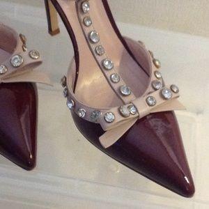 kate spade Shoes - Kate Spade Lydia Burgundy Rhinestone Heels